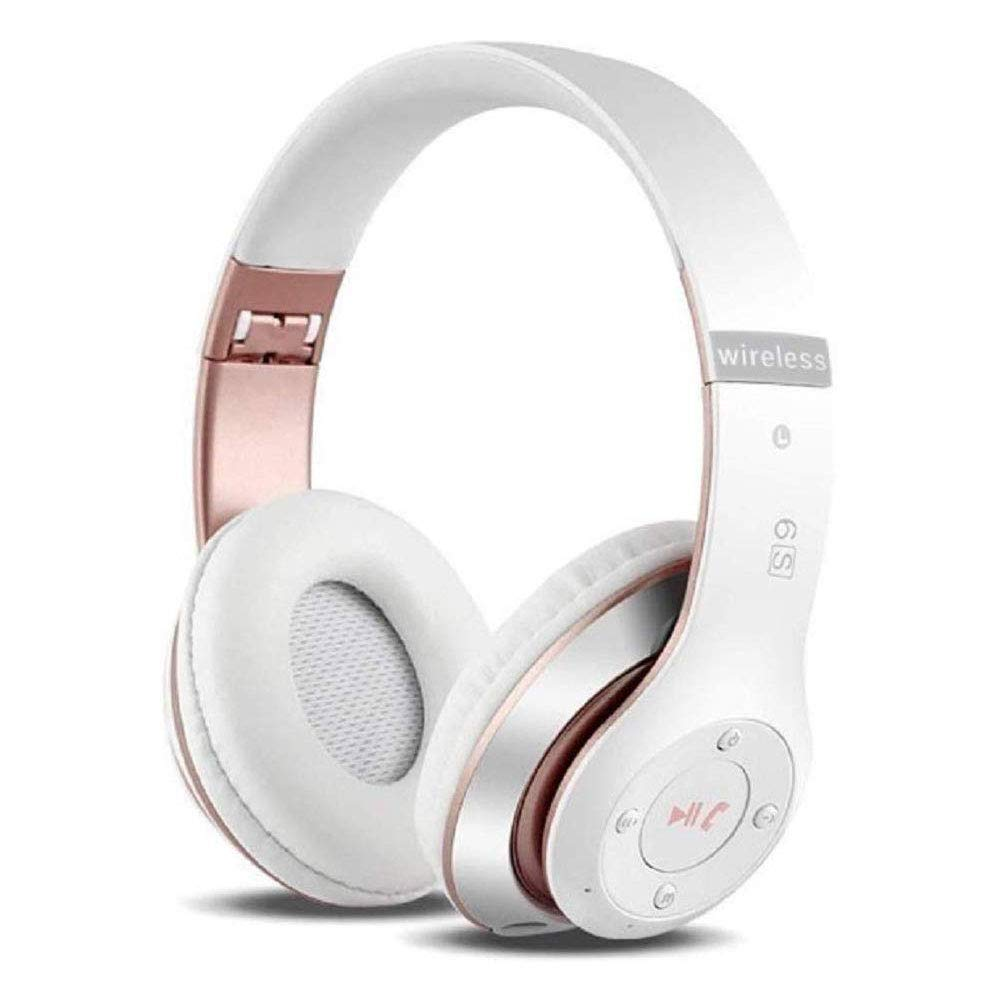 6S Wireless Headphones Over Ear,Hi-Fi Stereo Foldable Wireless Stereo Headsets Earbuds with Built-in Mic, Noise canceling, Micro SD/TF, FM for iPhone/Samsung/iPad/PC(White & Rose Gold)