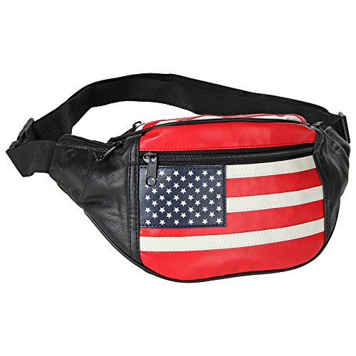 Home-X - Genuine Leather Lambskin Waist Bag Fanny Pack, The Perfect to-Go Travel Bag for Men and Women of All Ages, Stars and Stripes ()