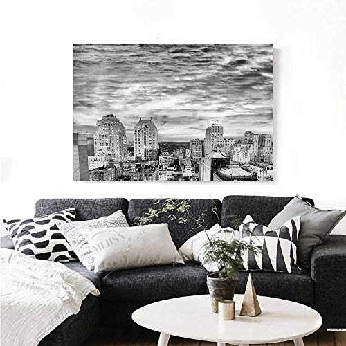 Black and White Canvas Wall Art Skyline Rooftop View York in Cloudy Day Panoramic Bust Cityscape Print Paintings for Home Wall Office Decor 36