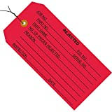 BOX USA BG20033 Inspection Tags, Pre-Wired,Rejected, 4 3/4'' x 2 3/8'', Red (Pack of 1000)