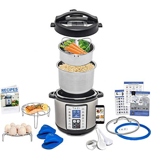 Total Package 9-in-1 Instant Programmable Pressure Cooker, comes with more Accessories than any Instant Pot or MultiPot and Endless Recipes by Yedi Houseware (6 Qt)