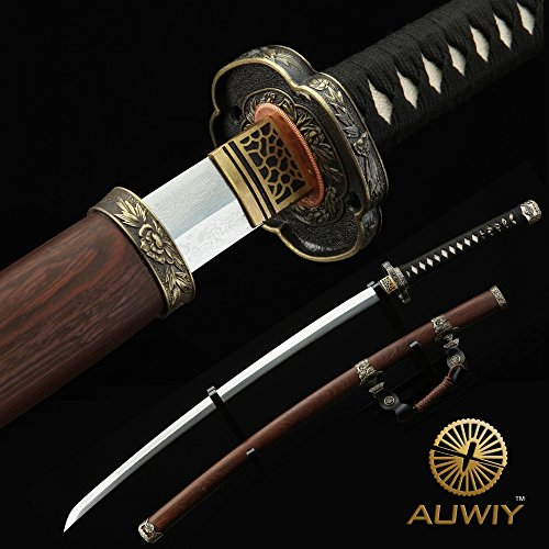 Tachi Sword, 41 inches Fully Handmade High Hardness Pattern Steel Real Japanese Katana Samurai Sword with Scabbard Rosewood (Tachi Sword)
