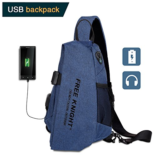 Meetrip Sling Bag, Crossbody Shoulder Travel Chest Backpack One Strap Daypack with USB Charging Port for Men Women (Blue)