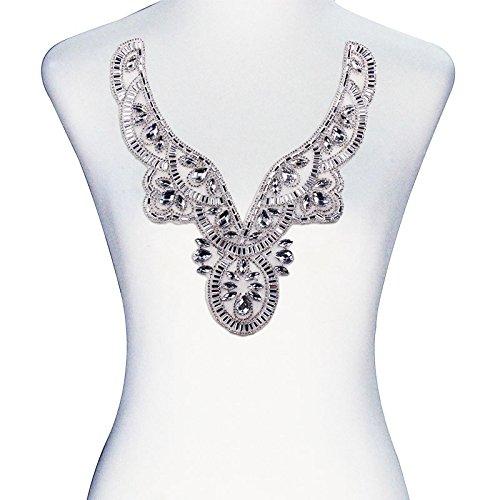 (1piece White V-Neck Collar Applique Hot Fix Crystal Rhinestone Motif Transfer Iron On Sticker Sewing Accessories T2417)