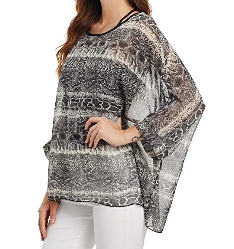 Myosotis510 Women's Chiffon Caftan Poncho Tunic Top Cover up Batwing Blouse (Z-4369)