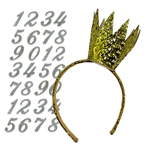 DIY Birthday Crown Party Hat Headband Tiara Alternative with Reusable Birthday Numbers - Customize to Pick Your Age (Gold)