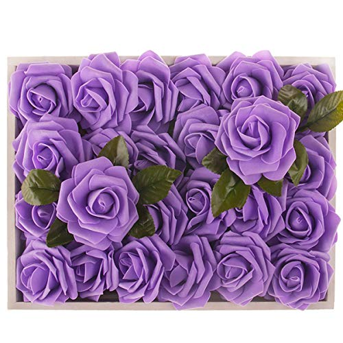 (M&A Decor Artificial Flowers Real Touch Roses, 30 PCS Fake Flowers for DIY Wedding Bridal Bouquet Anniversary Table Centerpieces Home Decorations,)