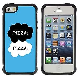 Híbridos estuche rígido plástico de protección con soporte para el Apple iPhone 5 / 5S - food black white blue chef text