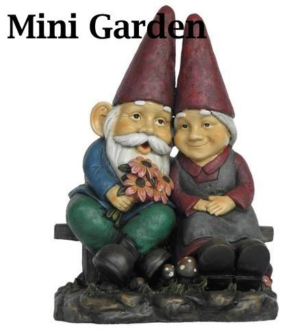 Fairy Garden - Man/Lady Gnomes On Bench