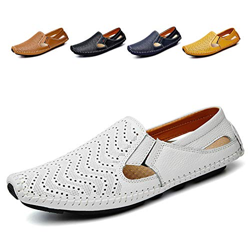 (Noblespirit Men's Driving Shoes Leather Fashion Slipper Casual Slip on Loafers Shoes in Summer Mens Mules Shoes Breathable Diameter-zinroy Slip-on Loafers White)