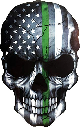 Military Wall Border - OTA Sticker Skull Skeleton Devil Ghost Monster Zombie Dead American Flag Subdued Thin Green LINE Military Park Ranger Border PATROLS Federal Agents Decal Laptop CAR Window Door Wall Motorcycle Helmet