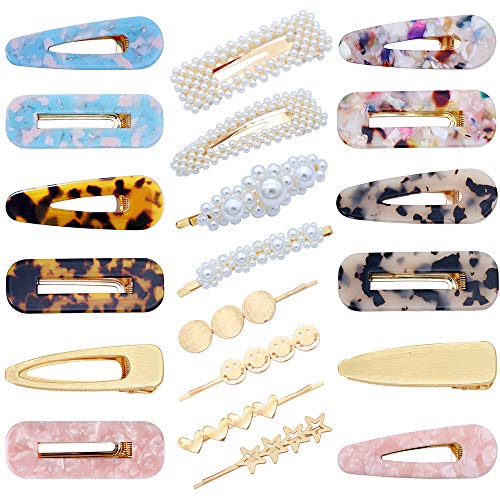 20 PCS Pearls Hair Clips Acrylic Resin Hair Barrettes Hollow Geometric Hair Clip Hairpins for Women and Ladies Headwear Styling Tools