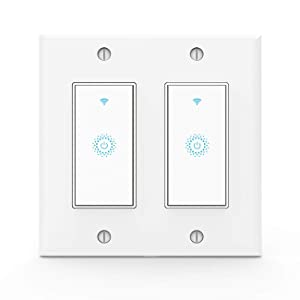 Wifi Smart Light Switch,Work with Alexa,Google Home, Wireless control,Need White Neutral Wire No hub,2 Gang