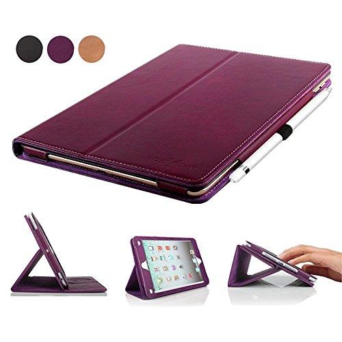 iPad Pro 9.7 Case, BoriYuan Vintage Genuine Leather Slim Folio Flip Stand Smart Cover for Apple iPad Pro 9.7 Inch with Magnetic Sleep / Wake Function + Card Slot + Stylus + Screen Protector, Purple