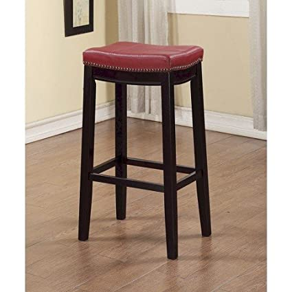 Amazoncom Claridge Leather Saddle 32 Barstool Red Kitchen Dining