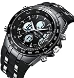 Men's Sport Watch Classic Big Face Multifunction Analog Digital Wrist Watches with Soft Black Band by BINZI