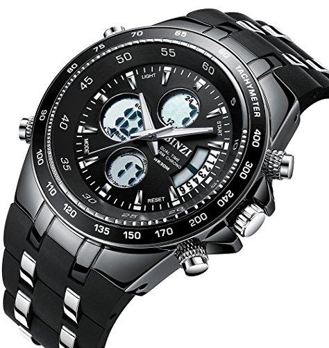 Men's Sport Watch Classic Big Face Multifunction Analog Digital Wrist Watches with Soft Black Band by BINZI