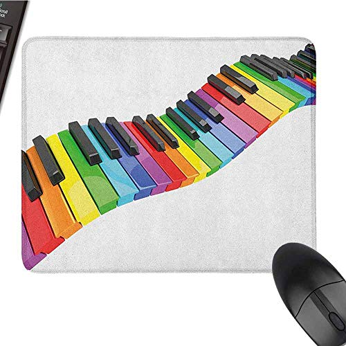 Music Mouse Pad Bundle Stitched Edges Vibrant Colored Piano Keyboard Wave Musician Arts Entertainment Harmony Instrument W12xL27.5 Multicolor ()
