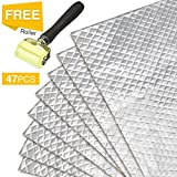 Partsam 50 mil 50 sqft Car Sound Deadening Mat,Self-Adhesive Sound Deadener,Thickness Sound Dampening Material,Audio Noise Insulation and Dampening,Butyl Automotive Deadener Restoration Mat,47pcs