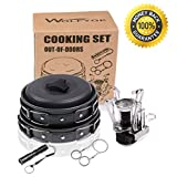 Wolfyok Mini Camping Stove with Piezo Ignition Kits with Wire Saw and Waterproof Flashlight
