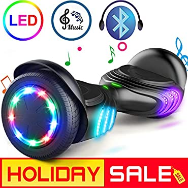 TOMOLOO Hoverboard with Bluetooth Speaker and Colorful LED Lights Self-Balancing Scooter UL2272 Certified 6.5 Wheel for Adults and Child