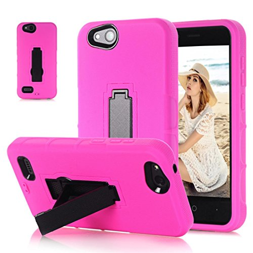 Mchoice Bling Hard Soft Rubber Impact Armor Case Back Hybrid Cover for ZTE Tempo X N9137 (Hot Pink)