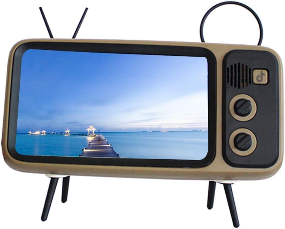 Wjtence Mini Speaker Retro TV Mobile Phone Screen Stand Wireless Portable Audio Speakers Retro Bluetooth Speaker Phone Holder Desktop Televison Design Mobile Phone Mount: Amazon.es: Hogar