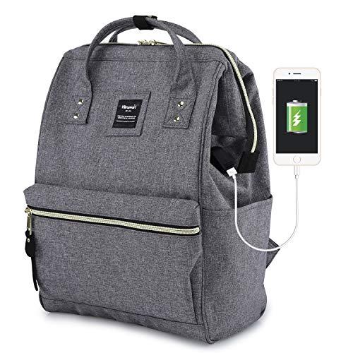 Himawari Travel Backpack With USB Charging Port Large Diaper Bag Doctor Bag School Backpack for Women&Men, College Student Rucksack Fits 13.6 Inch Laptop(USB Gray)