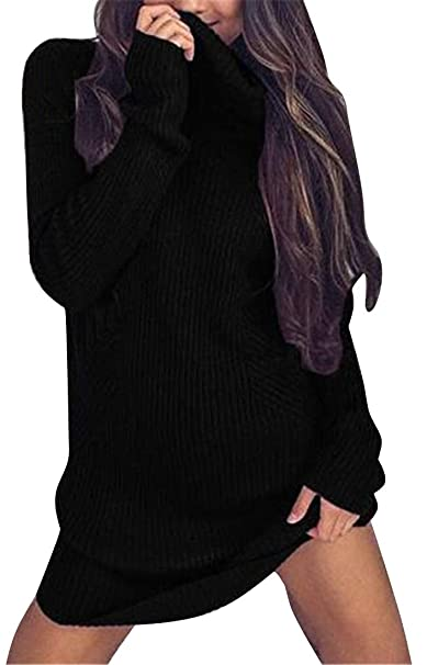 5f3a369ac08 Jotebriyo Women Sexy Knit Long Sleeve Solid Color Turtle Neck Split Pullover  Sweater Dress at Amazon Women s Clothing store