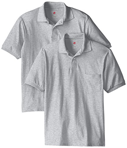- Hanes Men's Short Sleeve Jersey Pocket Polo, Light Steel, X-Large (Pack of 2)
