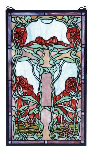 "Meyda Tiffany 65711 Nouveau Lily Stained Glass Window, 15"" Width x 25"" Height from Meyda"