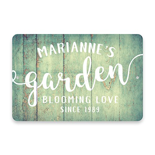 - Pattern Pop Personalized Mint Rustic Garden Blooming Love Metal Room Sign