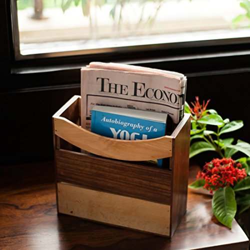 ExclusiveLane Elegant Magazine Cum Newspaper Stand In Sheesham Wood -Magazine Holder Newspaper Holder Racks Storage Basket For Office Room Home Desk Table Top Organizer Decorative Pieces by ExclusiveLane
