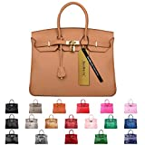 SanMario Designer Handbag 40cm/16'' Oversized Top Handle Padlock Women's Leather Bag with Golden Hardware Brown