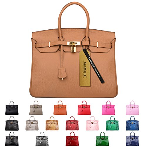 SanMario Designer Handbag 40cm/16'' Oversized Top Handle Padlock Women's Leather Bag with Golden Hardware Brown by SanMario