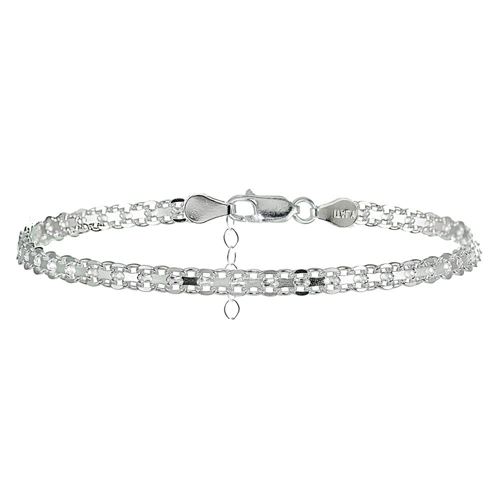 Hoops & Loops Sterling Silver Bismark Design Anklet by Hoops & Loops