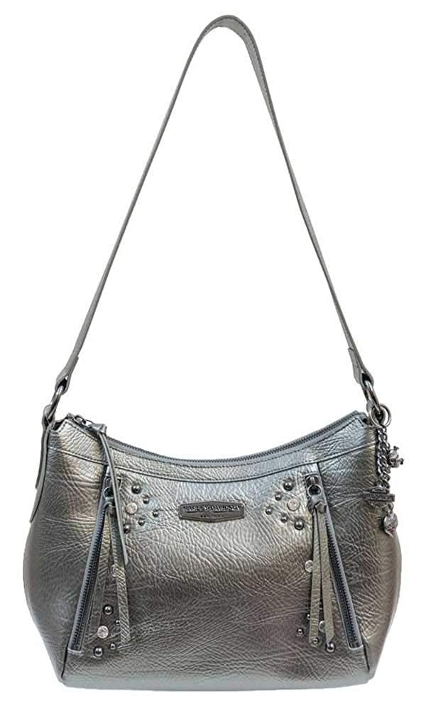 Harley-Davidson Womens Pearlized Leather Horizontal HOBO Charcoal PL8045L-CHAR