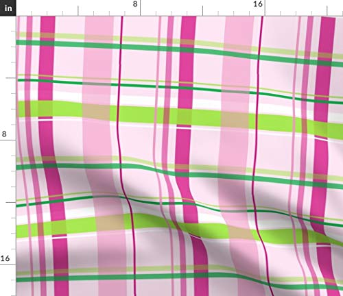 - Spoonflower Plaid Fabric - Baby Pink Hot Pink Lime Green Stripes Print on Fabric by The Yard - Fleece for Sewing Blankets Loungewear and No-Sew Projects