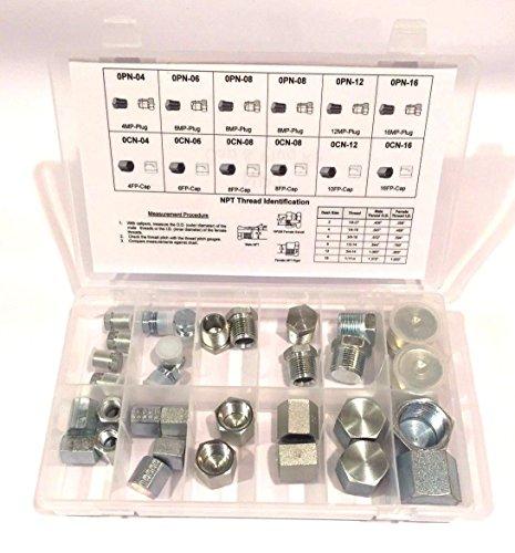 Chrome Plug Pipe - 32 PC KIT NPT Pipe Cap & Plug Adapter Fitting Set