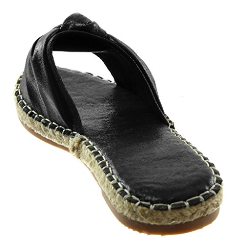 pour mode cm chaussures Slip Cordon femmes brillant Noeud Mules on Nœud Talon Angkorly 2 noir bloc 5qXE6x5