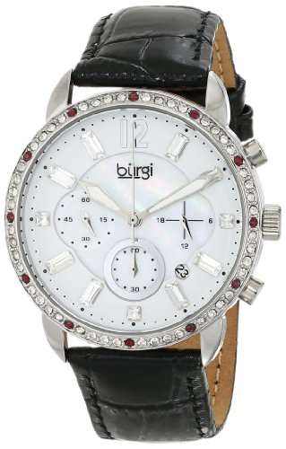 - Burgi Women's BUR089BK Silver Chronograph Quartz Watch with White Mother of Pearl and White Dial With Black Embossed Leather Strap