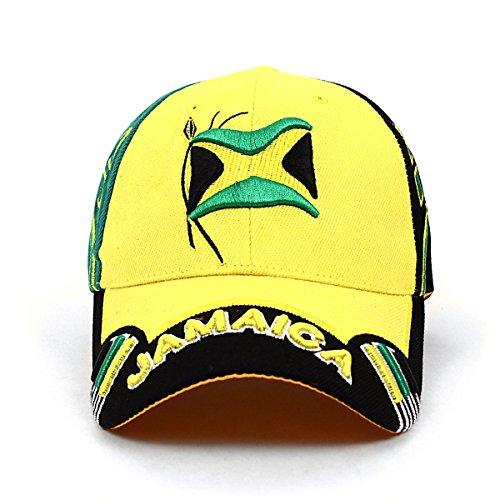 - Stylish Depot Jamaica Flag Adjustable 3D Embroidered Unisex Baseball Cap Hat, and Free Jamaica Bandana Flag (Yellow)