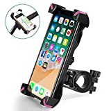 QMEET Bike Phone Mount 360°Rotation, Bike Phone Holder for iPhone Android GPS Other Devices Between 3.5 to 6.5 inches (Black Pink)