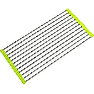 Loriver Over the Sink Foldable Roll-Up Dish Drying Rack Drainer Tray, Stainless Steel(48*23cm Green)