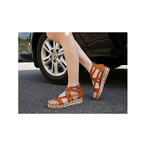 Mujeres Sandalias del mollete de la moda gran talla #07 Marron