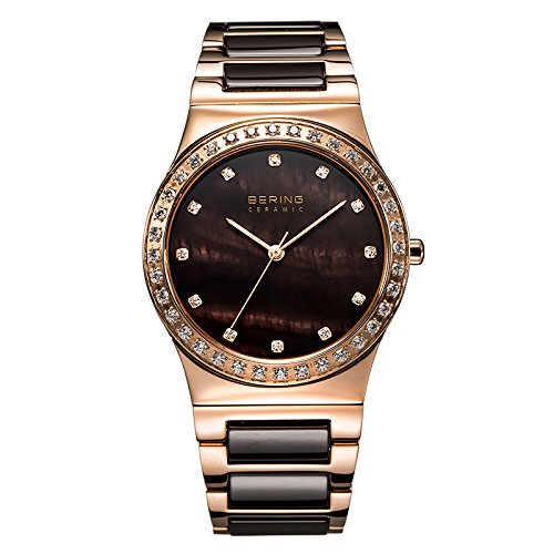 BERING Time 32435-765 Women's Ceramic Collection Watch with Ceramic Link Band and scratch resistant sapphire crystal. Designed in Denmark.