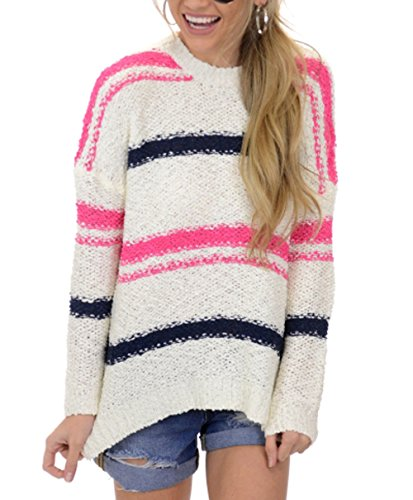 Huiyuzhi Womens Long Sleeve Striped Colorblock Pullover Sweaters Oversized Crewneck Chunky Knit Sweater