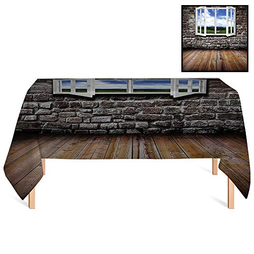 - SATVSHOP Table Cover Kitchen Dinning Tabletop /60x120 Rectangular,House an Open Window in an Old Grunge Meadow Brick Wall Hardwood Floor.for Wedding/Banquet/Restaurant.