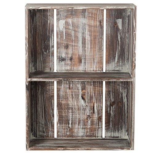 MyGift 24-Inch Rustic Torched Wood Crate Floating Display Shelf by MyGift (Image #5)