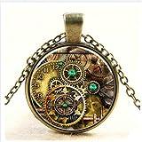 Jirachayastore Cool MetalPunk Steampunk Gears Clock Watch-Face Glass Art Pendant Chain Necklace